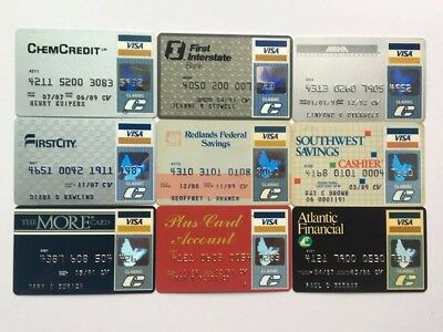 Lot of 9 vintage visa expired credit charge cards X9