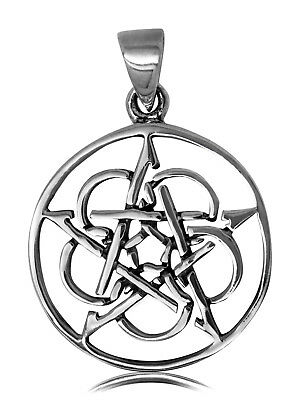 925 solid Sterling silver Wicca Neo Pagan Pentagram/Pentacle 5 circles pendant