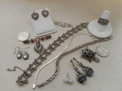 Sterling Mixed Jewelry Lot Rings Bracelets Necklaces Earrings Brooches  #37