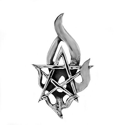 925 solid Sterling silver Pagan Wicca Pentagram with Fire element pendant