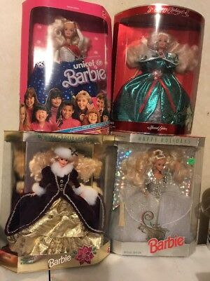 Lot of 3 Happy Holidays Barbie 1992, 1995, 1996 & Unicef Barbie - New in Boxes