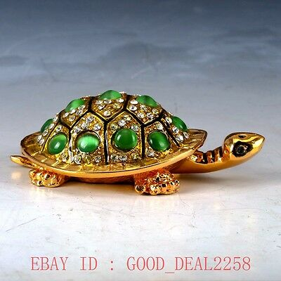 Chinese Cloisonne Handwork Carved Tortoise Statue Box QW0200