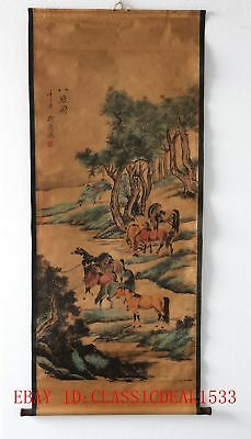 Old Scroll Chinese Ink And Wash Painting / Ancient Chinese 8 Well-Known Horses