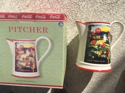 BRAND NEW Coca Cola Along The Highway Pitcher Set In Box Unused.