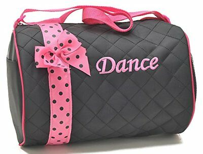 1 Perfect Choice Girl's Dance Duffle Bag, Kids Totes Bag, Quilted Ribbon Polka D