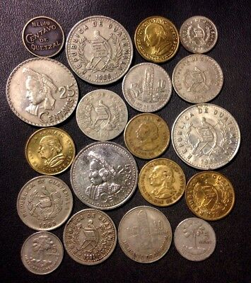 Old Guatemala Coin Lot - 1932-Present - 19 Great Coins - Lot #111