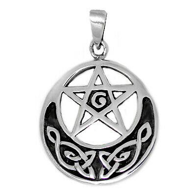 925 solid Sterling Silver Wicca Neo Pagan Pentacle Pentagram Celtic knot pendant