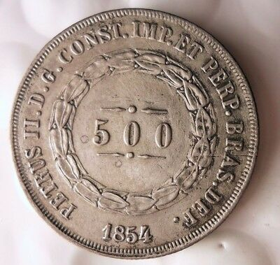 1854 BRAZIL 500 REIS - AU VERY Rare -HUGE VALUE - Silver Strong Grade - Lot #111