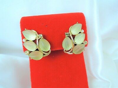 Lisner Vintage Luminous Moonstone Art Glass & Rhinestone Lemony Clip Earrings!
