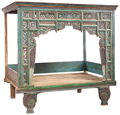 Exquisite Antique Chinese Hand Carved Wood Wedding Madura Bench Bed,89''X 87''H