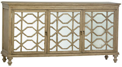 Farmhouse Sideboard Buffet Cabinet  Distressed Antique Mirror Front,68'' X 36''H