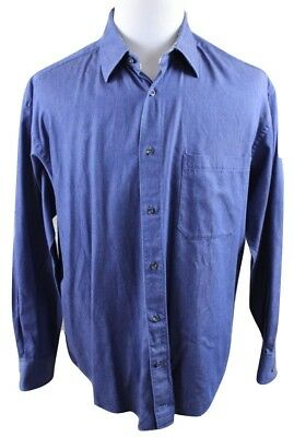 3529723f NEW JOHNSTON & Murphy Blue Chambray Long Sleeve Shirt MENS LARGE Cotton