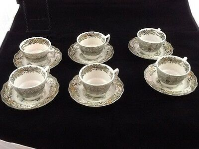 Village of Cedars by Ridgway Staffordshire England Set of 6 Cups & Saucers