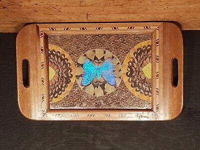 Antique Inlaid Butterfly Tray