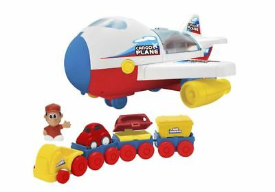 Cargo Plane Playset - Includes A Pilot Figure, A Tow Tractor, Trailers And Cargo