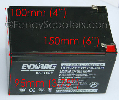 Enduring Battery Cb12-12 12V12Ah/20Ah Razor Scooters & Gas Scooters Most Brands