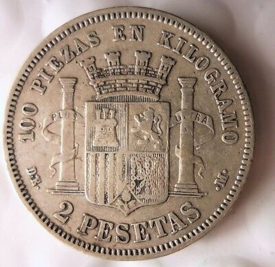 1870 SPAIN 2 PESETAS - Rare Excellent Silver Coin - Big Value - Lot #111