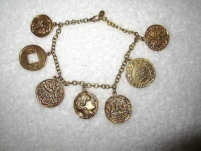 MMA Coin Charm Bracelet Metropolitan Museum Gold Plated Retired -- Mint!
