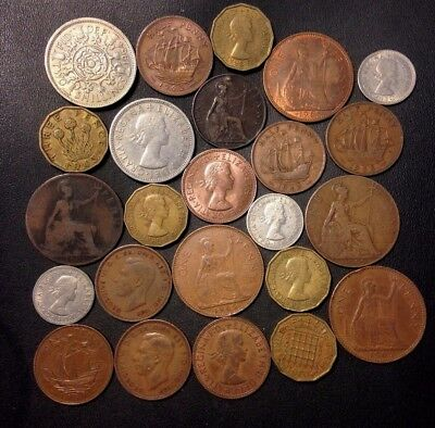 Vintage Great Britain Coin Lot - 1896-1967 - 24 Great Coins - Lot #111