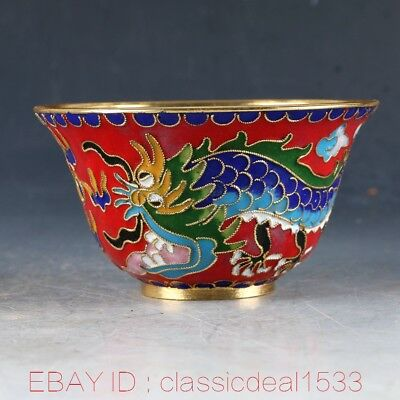 Chinese Cloisonne Handwork Carved Dragon & Phoenix Bowl PA0734