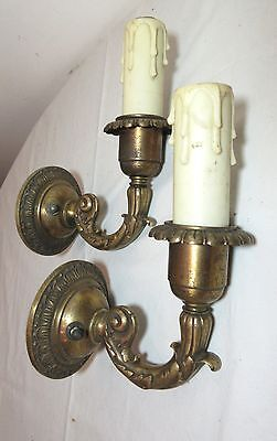 pair of antique ornate Victorian gilt bronze electric wall fixture sconces brass