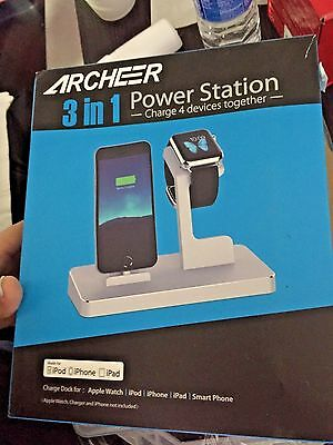 Archeer Apple Watch Stand/iPhone Charging Dock-Charge 4 devices together-Silver