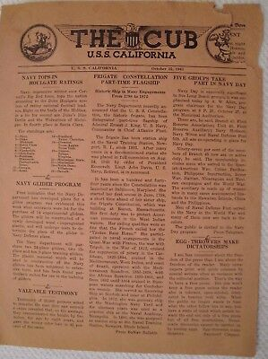 "1941 Edition Of ""the Cub"" Newspaper U.s.s. California Bb-44 Sunk At Pearl Harbor"