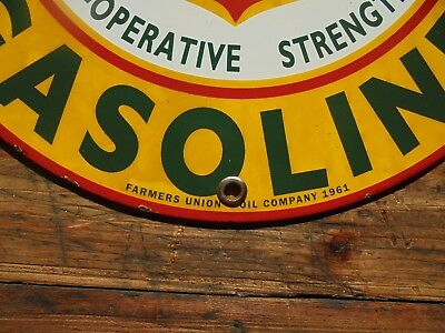 Farmers Union Co-op Gasoline porcelain pump plate sign seed plow can tractor car