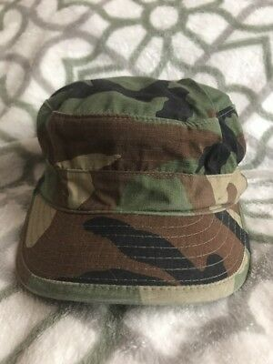 Military BDU Woodland Camo Hat/Cap Army Hot Weather Style Size 7 3/4""