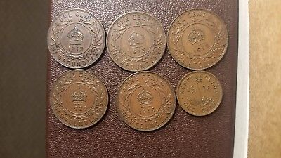 Newfoundland cent lot 6 coins all VF/Better 1913, 1917c, 1919c, 1920c, 1936,1938