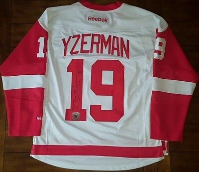 Steve Yzerman Signed Detroit Red Wings Reebok White Jersey HHOF Legend