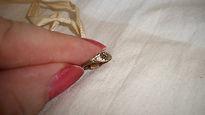 Vintage Antique  10K Baby Infant Baby Ring With Ruby