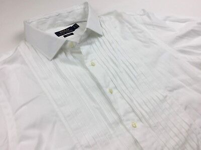 Polo Ralph Lauren Men's Pleated Pintucked French Cuff Tuxedo Shirt White 17/43