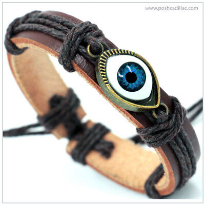 ® LEATHER Unisex Good Luck / Evil Away Eye Charm Bracelet Ancient Greek Egyptian
