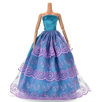 Dress for Barbies Wedding Dress Doll Beautiful Net Yarn Dress Blue and Purple ^
