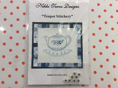 "WALL HANGING PATTERN ""TEAPOT STITCHERY"" by NIKKI TERVO  INCLUDES BUTTONS"