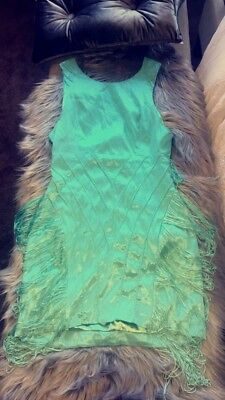 PasCucci Couture Size M Or L GoGo Dancing Fringe Dress Mint Green