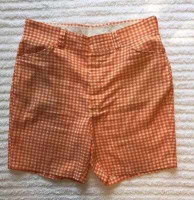 Vintage Orange And White Checkered Shorts AS IS Tear at Waist/No Tags Sz M?