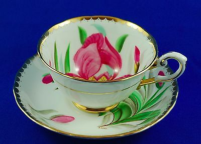 Rare & Signed Tuscan Hand Painted Decorated Pink Floral English Teacup & Saucer