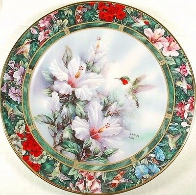 Ruby Throated Hummingbird Lena Liu Decorative Collectible Plate w/ Papers