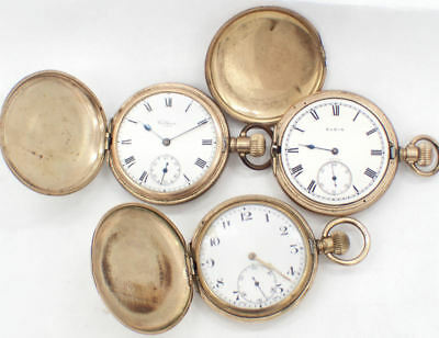 Antique Rose Gold Plated Pocket Watches x3 - Waltham, Elgin, Wasco