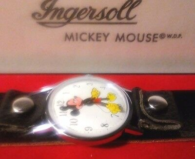 Old Vintage Disney Ingersoll Mickey Mouse Watch Working W/ Case & Box 1940/50's