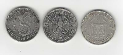 Germany Third Reich 3 Different Silver 5 Mark Coins