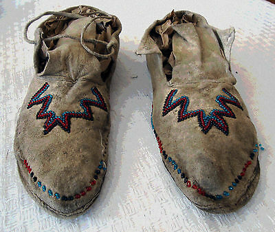 Vintage Antique Beaded Plains Indian Moccasins