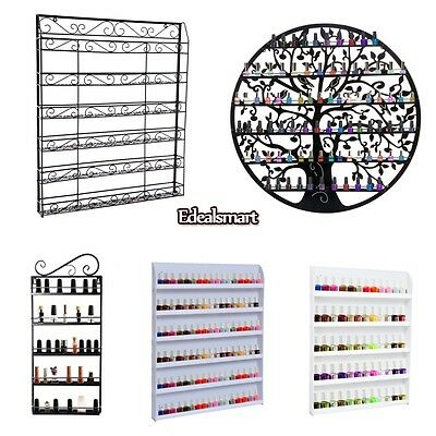 (5 Types) Black/White Metal/Acrylic Shelf Wall Mounted Nail Polish Rack Display