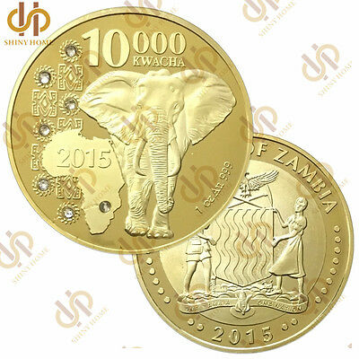 2015 Zambia 10000 Kwacha 1oz With Elephant Gold Commemorative Coin Collection