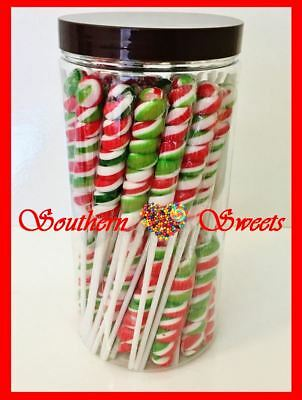 Xmas Lollipops Twist Christmas Pops Red White Green Lollies Gluten Free 48Ct