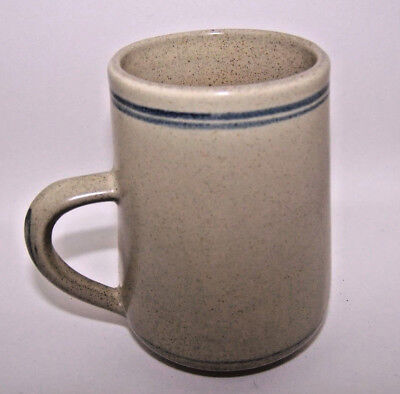 Vintage Honiton Pottery Coffee Cup ~ Grey with Blue Rings