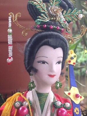 Chinese Silk Handcrafted Doll Princess Wen Chen 1996 Wooden Base Duck House