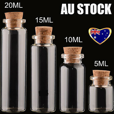 5/10/15/20/25/50/100ML Glass Bottle with Cork Stopper Vial Storage X10/24/50/100